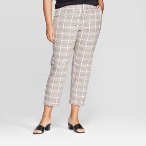 Ava & Viv Plaid ankle pants elastic waist